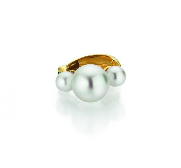 Perlenohrklemme Akoya in Gold