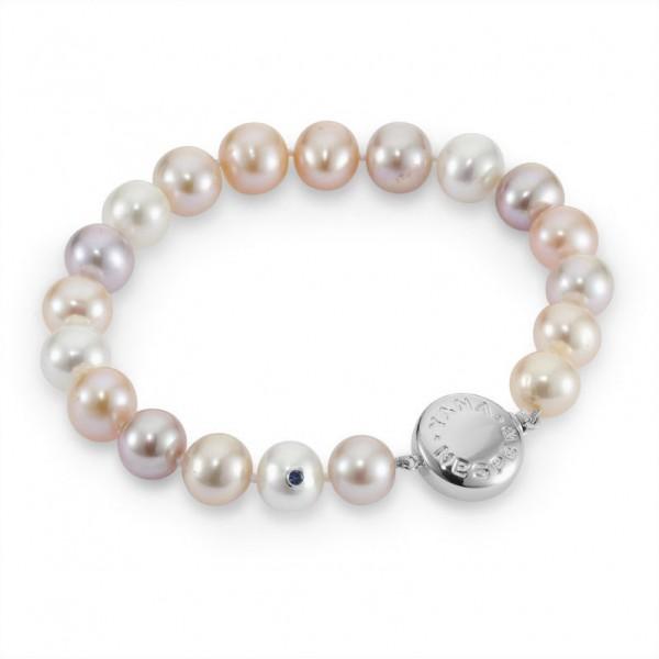 Perlenarmband mit multicolorfarbenen Süßwasserperlen IS20 und mit Gold