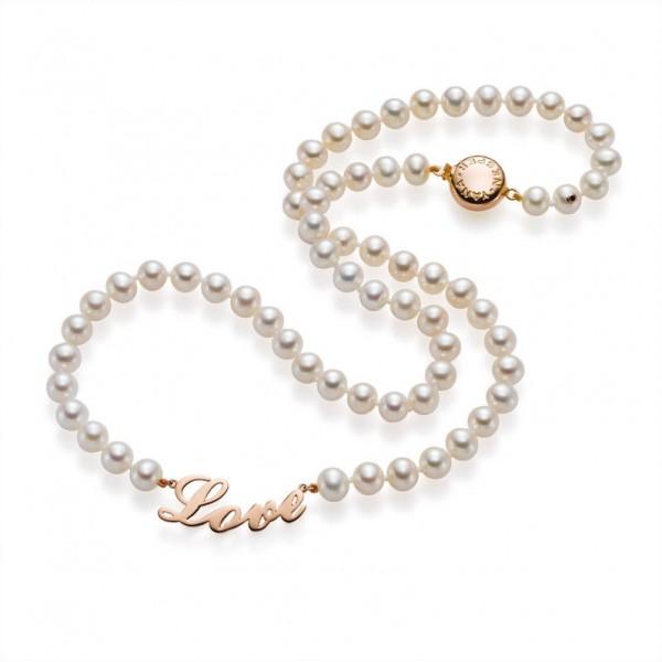 """FC43 Süßwasser Perlenkette """"Love"""" mit Gold"""