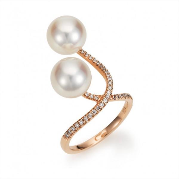 """Südsee Perlenring SD32 """"X-Ring"""" mit Diamanten und Gold in 750/- RG"""