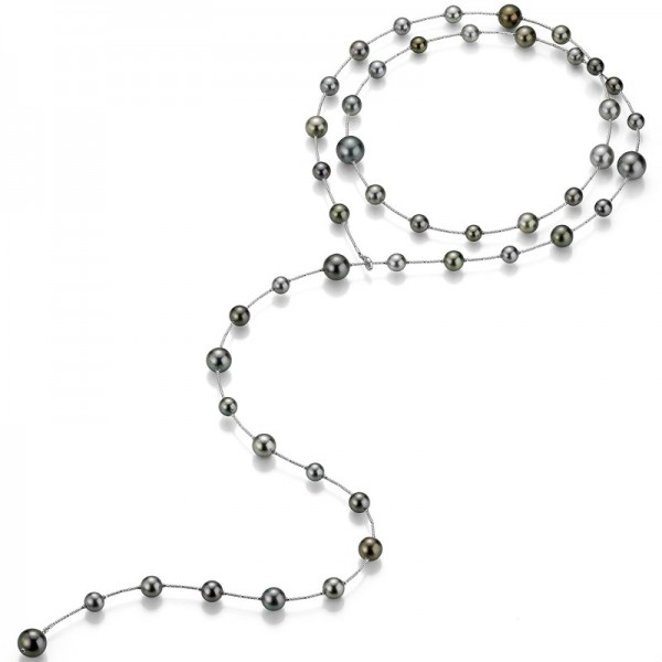 Perlenkette Tahiti in Weißgold