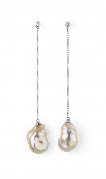 Diamantbesetzte PerlenOhrhänger IS66 in weißgold mit naturfarbenen barocken Süßwasserperlen