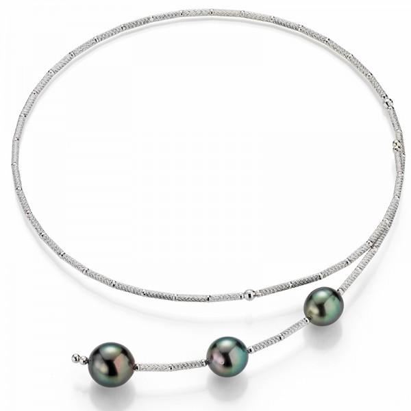 Tahiti Magnet Halsreif UN140 in weißgold und 3 Perlen