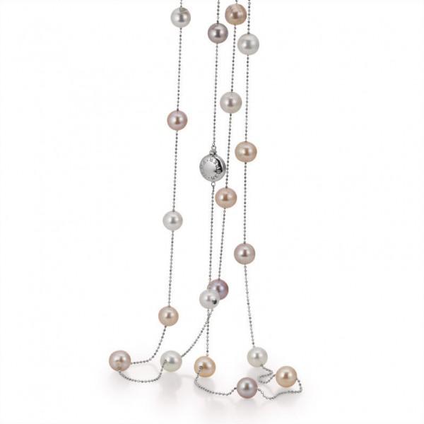Perlenkette mit multicolor Süßwasserperlen mit Gold IS4