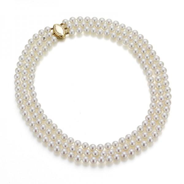 Dreireihige Akoya Perlenkette AP4 mit GoldSchließe