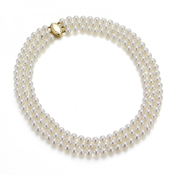 Perlenkette Akoya in Gelbgold