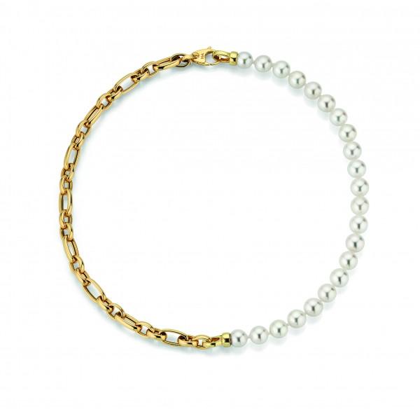Perlenkette Akoya in Gelbgold BALTHASAR