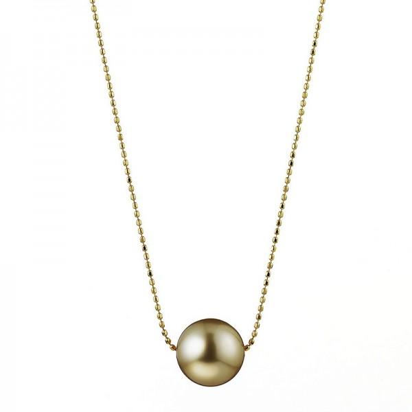 Südsee Perlenkette SD61 Bubbles. Goldfarbene Perle auf Gelbgold mit Slide-Verschluss
