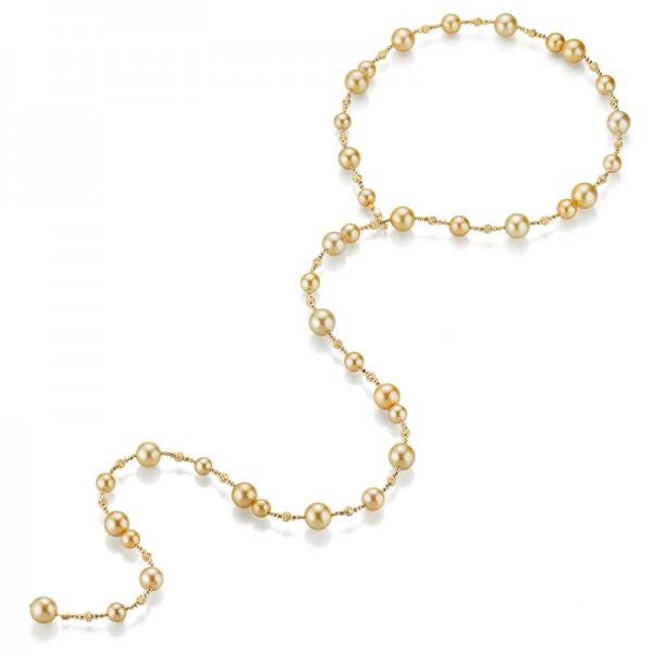 Südsee Tie-Perlenkette goldfarben SD95, ca. 100cm in Gelbgold