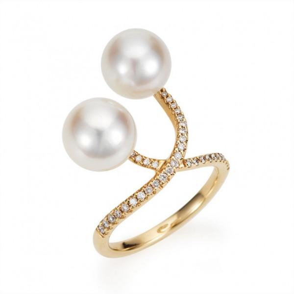 Perlenring Südsee in Gold mit Brillant