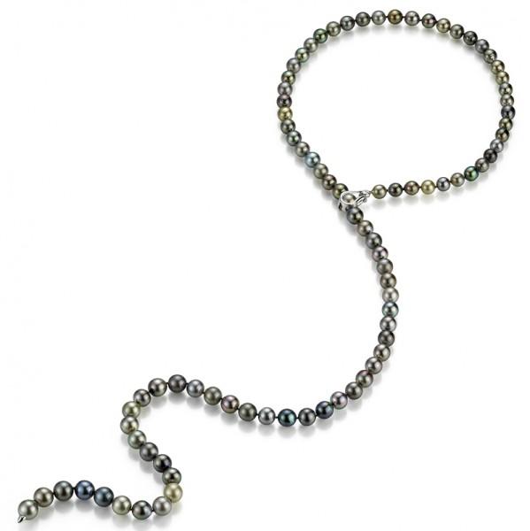 Tahiti Perlenkette UN95 in Weissgold mit Diamant