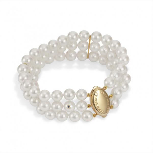Dreireihiges Perlenarmband AP14 aus Akoya Perlen mit GoldSchließe