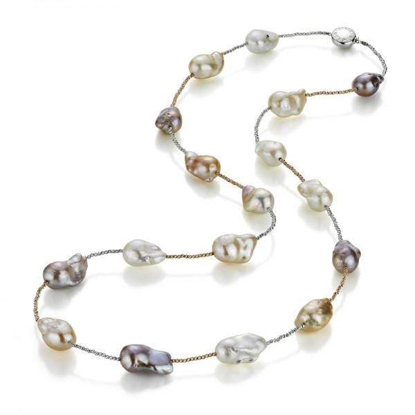 Süßwasser Perlen multicolor Kette IS26 mit Schließe und Zwischenteilen aus Gold