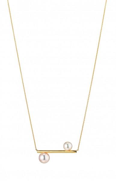 Perlenstabkette Akoya in Gelbgold