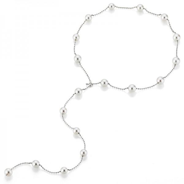 Südsee Tie-Perlenkette SD100, ca. 85cm in weißgold