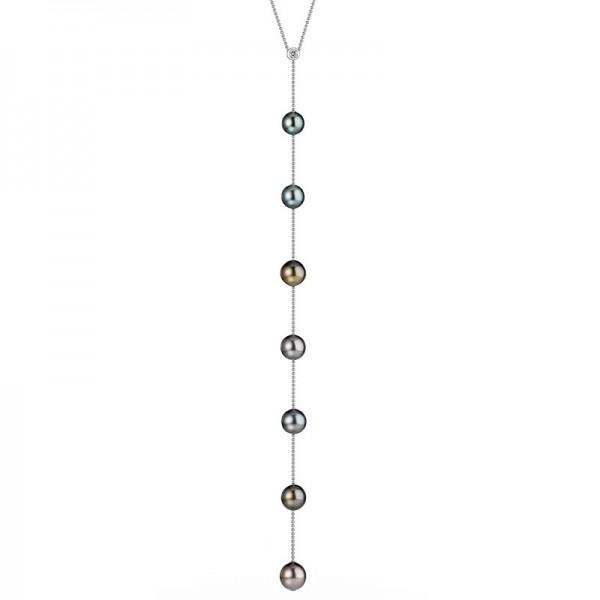 Y-Tahiti Perlenkette UN128 in Weißgold mit Diamanten