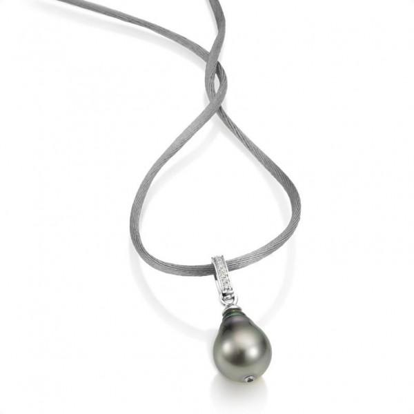 Perlenkette UN32 - Satinband mit Tahiti Perle