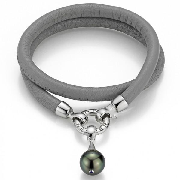 Lederarmband grau mit Tahiti Perle YN29 mit Silber
