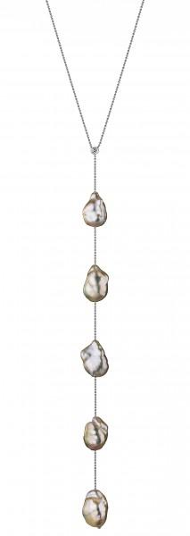 Y-Perlenkette IS65 mit naturfarbenen barocken Süßwasserperlen und Diamant in weißgold