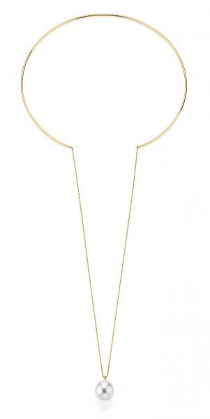 Südsee Perlenhalsreif SD126 mit durchlaufender Perle in Gelbgold