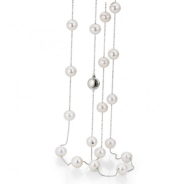 Süßwasser Perlenkette FC27-5 mit Kugelkette und Schließe aus Gold
