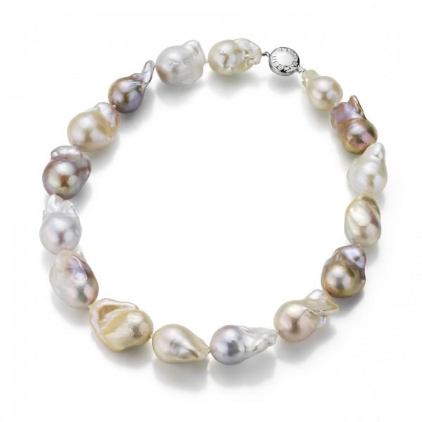 Perlenkette Süßwasser barock multicolor in Weißgold