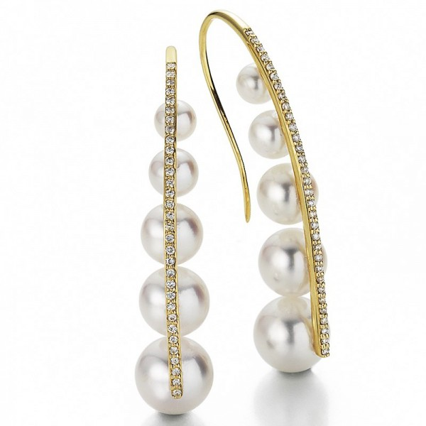 Akoya PerlenOhrhänger AP109 mit 10 Perlen und Brillanten. In Gelbgold