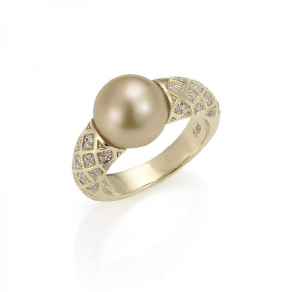 Perlendiamantring mit Südseeperle und Gold in 750/-GG SD38