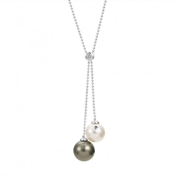 Tahiti Perlenkette UN5 mit Diamant und Schließe aus Gold