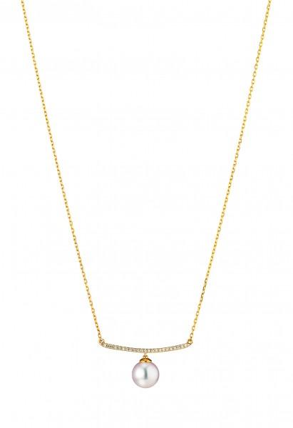 Perlenstabkette Akoya in Gelbgold mit Brillant
