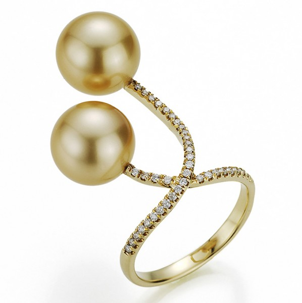 Goldfarbener Südsee Perlen X-Ring SD73 mit Diamanten in Gelbgold