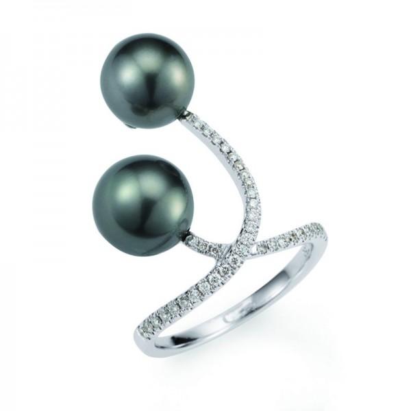 "Tahiti Perlenring UN49 ""X-Ring"" mit Diamanten in weißgold"