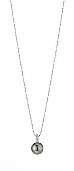Diamantbesetzter Tahiti Perlenanhänger UN175 mit 750/-WG
