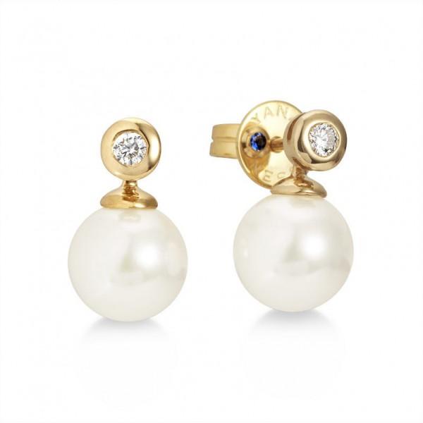 Perlenohrstecker Akoya AP17 und Diamanten aus Gold