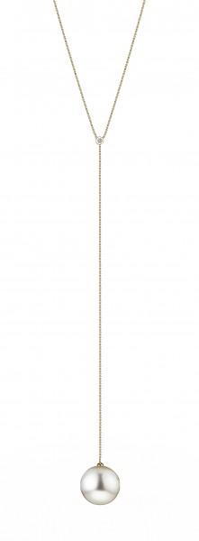 Perlen-Y-Kette Südsee in Gelbgold mit Brillant