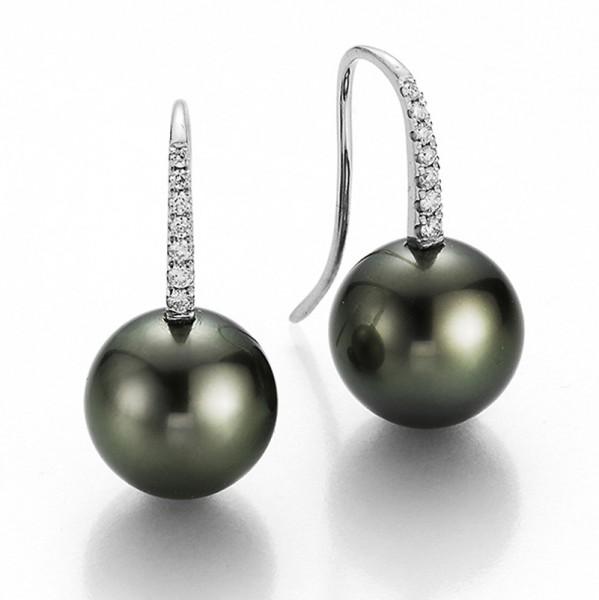 Diamantbesetzte Perlenohrhaken UN102mit Tahitiperlen in weißgold