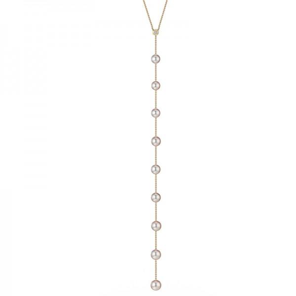 Y-Akoya Perlenkette AP99 in Gelbgold mit Diamanten