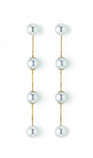 Perlenohrhänger Akoya in Gelbgold TRANSFORMER